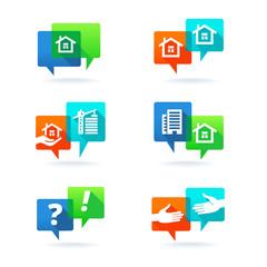 Real estate elements. Web set with speech bubbles