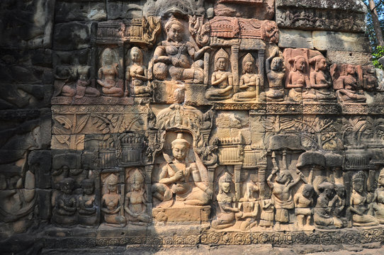 Detail of Terrace of Leper King in Angkor Thom temple  in Siem R