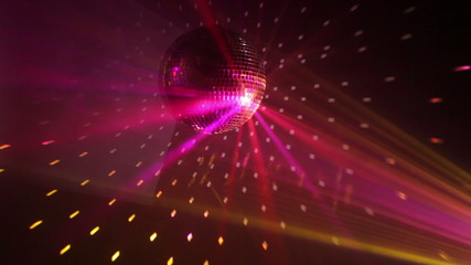 Wall Mural - Rotating disco ball with multicolor lights, loop-ready, HD 1080p