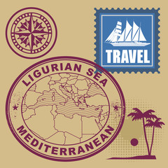 Stamp set with text Mediterranean, Ligurian Sea, vector