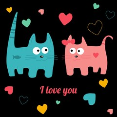 valentine vector card - cute cats in love
