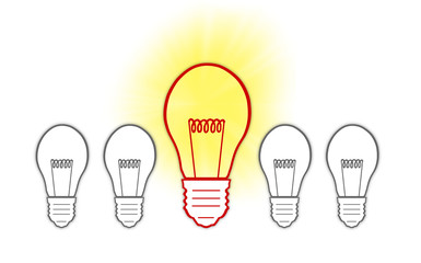 Big Ideas creative light bulb concept