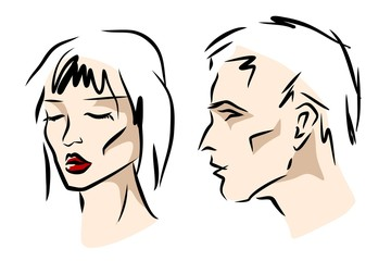 stylized faces