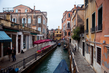 Venice. Italy. Narrow street - the channel.
