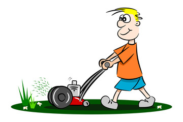 A cartoon guy cutting the grass with lawn mower