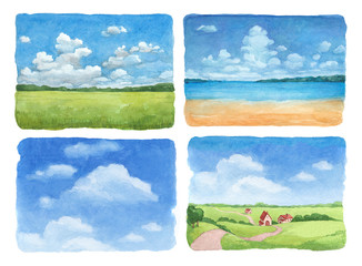 Watercolor illustrations set of a summer landscape