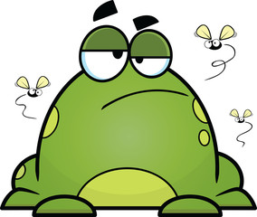 Bored Cartoon Frog With Flies
