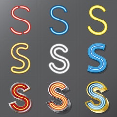 Fototapeta Set of Neon Style Alphabet S, Eps 10 Vector, Editable for Any Ba obraz