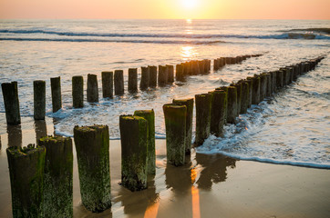 Breakwaters on the beach at sunset in Domburg Holland