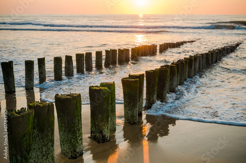 Wall mural Breakwaters on the beach at sunset in Domburg Holland