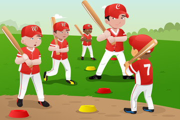 Kids in baseball practice