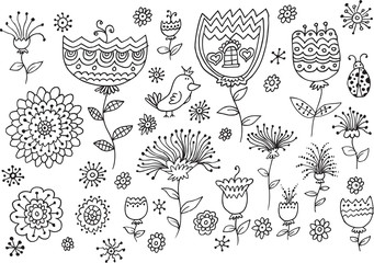 Fairytale Flower Spring Doodles Vector Illustration set