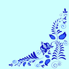 floral ornament Gzhel on a blue background?