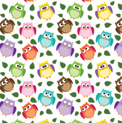 seamless owl pattern with leaves