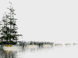 Obraz Zen steps - 3D render - fototapety do salonu