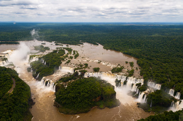 Iguazu Falls or Iguassu Falls in Brazil. View from airplane