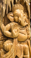 Carved wooden image of Lord Ganesha