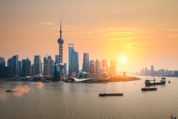 Aluminium Prints Shanghai beautiful dusk with shanghai skyline