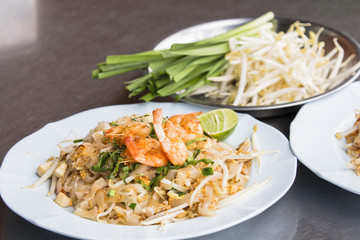 Pad Thai Goong Sod (Fried Rice Sticks with Shrimp) . Thai style