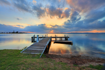 Foto op Canvas Australië Sunset at Belmont, Lake Macquarie, Australia