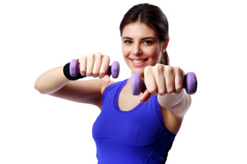 sport woman with dumbbells working out