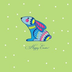 Easter greeting card with funny rabbit