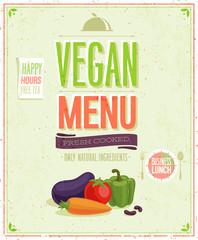 Wall Mural - Vintage Vegan Menu Poster.