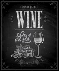 Wall Mural - Vintage Wine List Poster - Chalkboard.