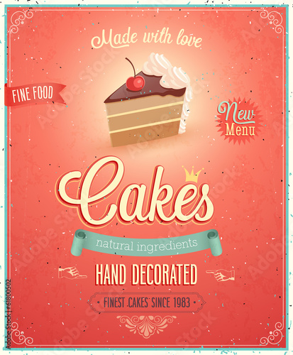 Wall mural Vintage Cakes Poster.