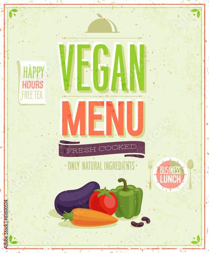 Wall mural Vintage Vegan Menu Poster.