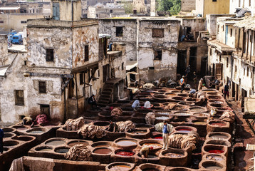 Tanneries of Fes, Morocco, Africa Old tanks of the Fez's tanneri