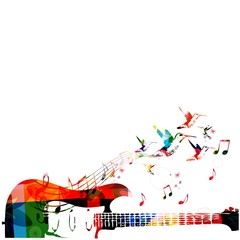 Colorful music background with guitar.