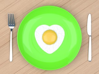 heart fried egg in  plate on wood table