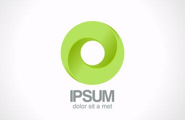 Logo Infinity Green loop Circle abstract vector icon