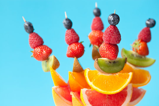 Fresh organic fruit kebabs - shallow dof