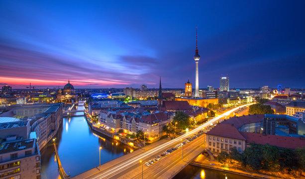 Berlin Skyline City Panorama with Traffic and Sunset