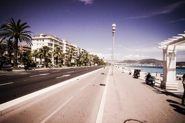 Vintage style image of walkway in Nice France
