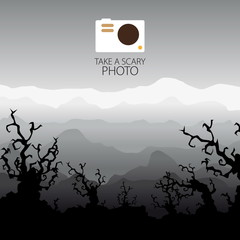 Photo camera scary background, halloween trees landscape