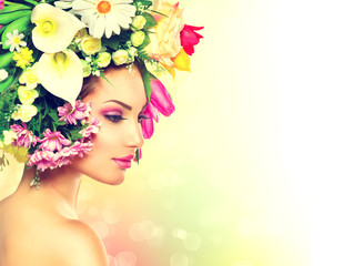 Beauty Spring Girl with Flowers Hair Style