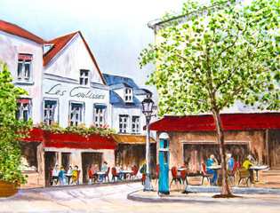 Painting of a Village Square