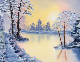 Painting of a pond in Winter