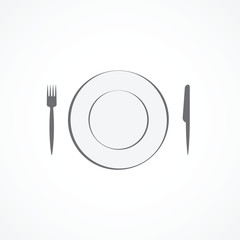 Food icon. Plate, fork and knife.