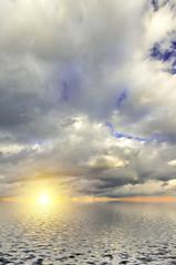 Fantastic sea calm and bright, rich dramatic sky