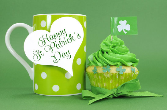 Happy St Patricks Day green with coffee mug and greeting