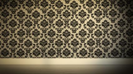 Wand mit gemusterter Tapete