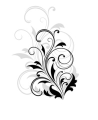 Dainty scrolling black and white floral element