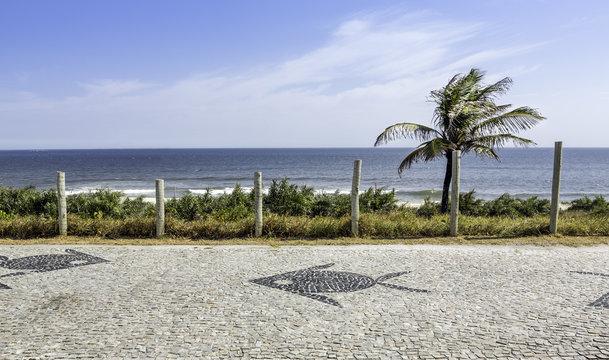 Barra da Tijuca sidewalk mosaic in Rio de Janeiro