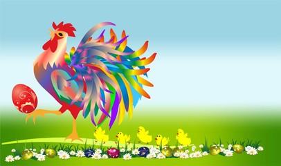 wielkanocna kompozycja kogutem i kurczakami,