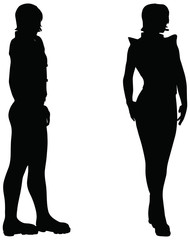 silhouette of a woman on white background