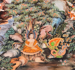 Thai mural painting of the Life of Buddha (Experiment with ascet